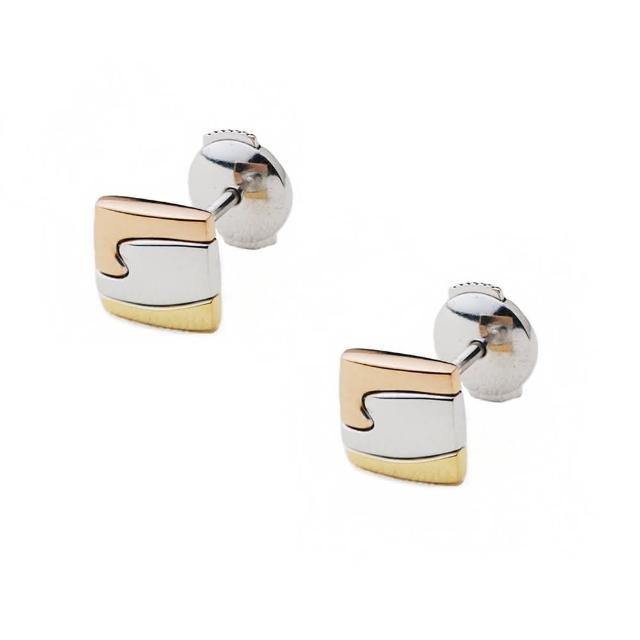 【Georg Jensen】Fusion 三色K金小方形耳環