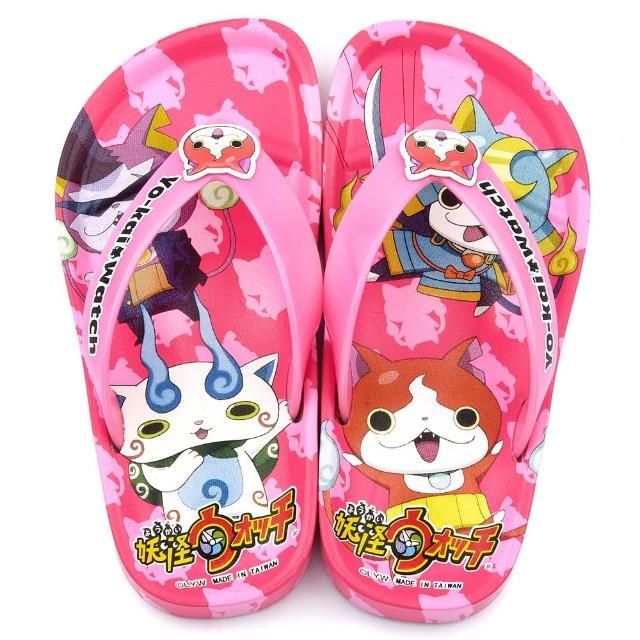 【童鞋城堡】妖怪手錶 中童 不對稱圖夾腳拖鞋(YW2112-粉)