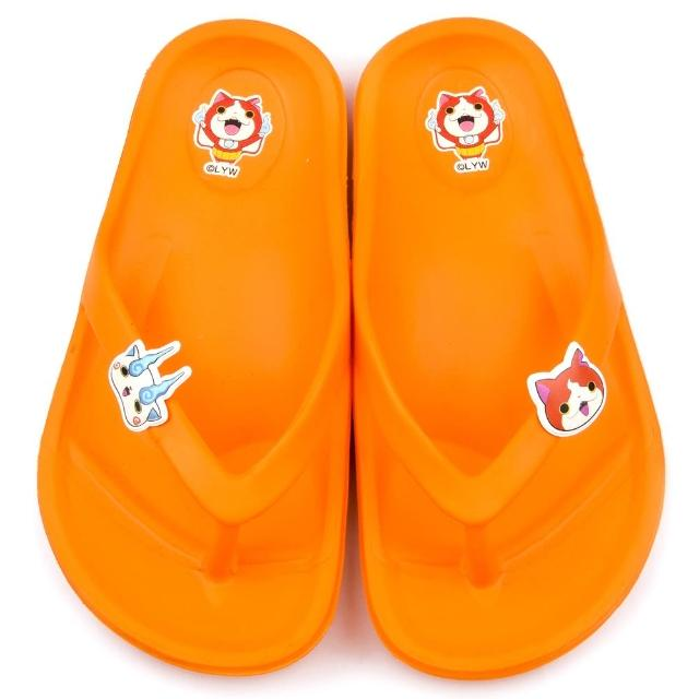 【童鞋城堡】妖怪手錶 中童 超輕量夾腳拖鞋(YW2171-橘)