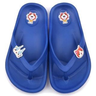 【童鞋城堡】妖怪手錶 中童 超輕量夾腳拖鞋(YW2171-藍)