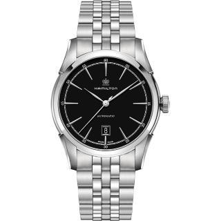 【Hamilton】漢米爾頓 CLASSIC 紳士大三針機械腕錶-黑x銀/24mm(H42415031)