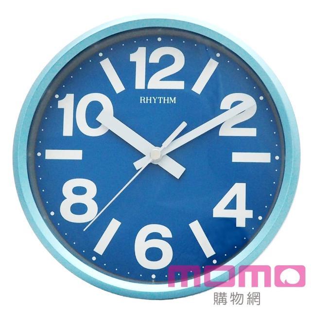 【RHYTHM日本麗聲】亮彩色系座掛兩用超靜音掛鐘(自然天藍)
