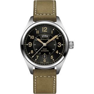 【Hamilton】漢米爾頓 KHAKI FIELD卡其野戰機械腕錶-黑x軍綠/42mm(H70505833)