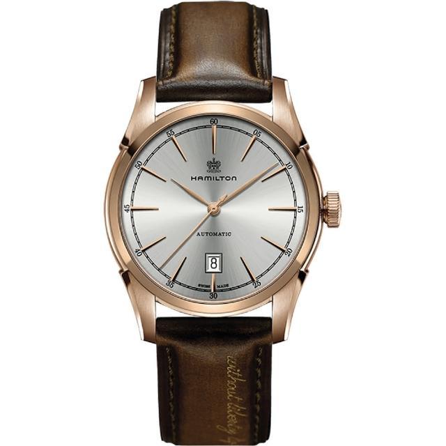 【Hamilton】漢米爾頓 AMERICAN CLASSIC自由精神機械腕錶-銀x玫瑰金框/42mm(H42445551)