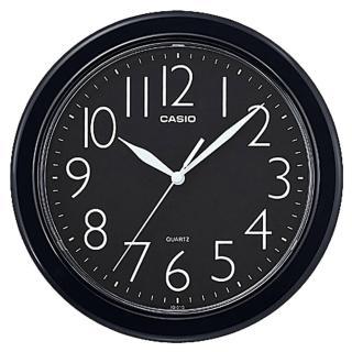 【CASIO 卡西歐】圓形簡約時尚掛鐘-黑(IQ-01S-1DF)