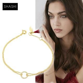 【SHASHI】美國品牌 Circle Pave 925純銀鑲18K金手鍊(鑲鑽圓滿圈圈)