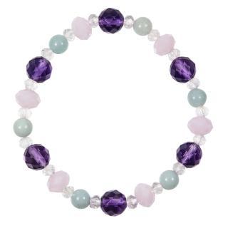 【A1寶石】頂級紫水晶白水晶粉水晶天河石手鍊-招財開運旺事業貴人運(含開光)