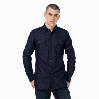 【Levis】男款背後刺繡牛仔襯衫-深藍