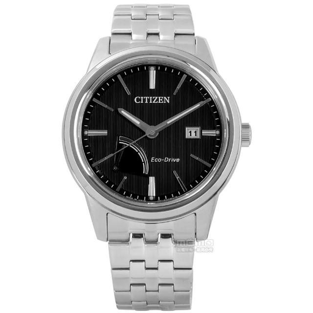 【CITIZEN 星辰】歐風時尚男仕藍寶石水晶光動能不鏽鋼手錶 黑色 41mm(AW7000-58E)