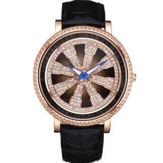 【ELIDA】法輪晶鑽皮帶錶(黑 EA2999-1DMR-D)