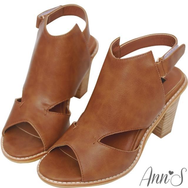 【Ann'S】時髦達人-後空靴型魚口粗跟涼鞋(咖啡)