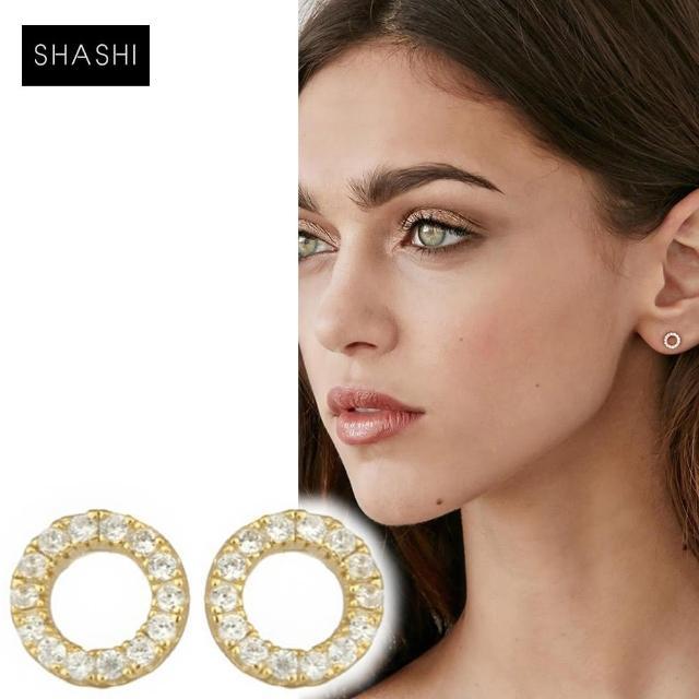 【SHASHI】紐約品牌 Circle Pave 925純銀鑲18K金迷你圓耳環(鑲鑽圓滿圈)
