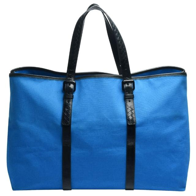 【BOTTEGA VENETA】經典小羊皮編織提把帆布手提/肩背購物包(藍_展示品256765-V0