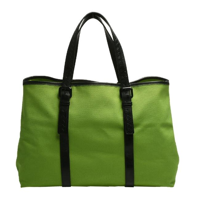 【BOTTEGA VENETA】經典小羊皮編織提把帆布手提/肩背購物包(綠_展示品256765-V0