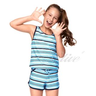 【聖手品牌】亮彩條紋款式女童二件式連身褲泳裝(NO.A82418)