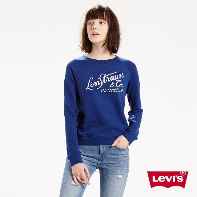 【Levis】女款運動長袖棉T-藍色