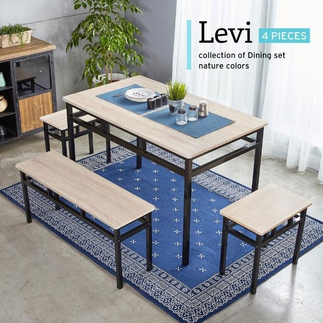 【H&D】諾拉工業風個性鐵架餐桌椅組(4件式)