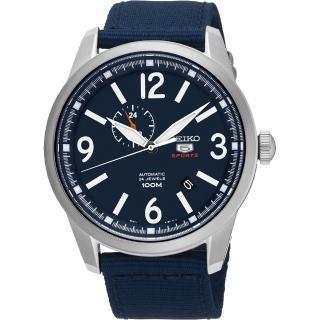 【SEIKO】精工5號盾牌24石紳士風機械腕錶-藍/42mm(4R37-01D0B SSA301J1)