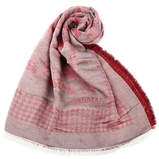 【ARMANI COLLEZIONI】千鳥紋混紡寬版流蘇披肩圍巾(紅色)