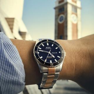 【MIDO】美度 Ocean Star Caliber 80 200m潛水機械腕錶-黑x雙色(M0264302205100)