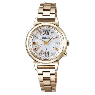 【SEIKO】精工LUKIA 美好時光限量太陽能電波腕錶-銀x鍍金/28mm(1B25-0AN0K SSVV026J)