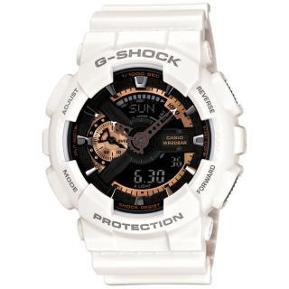 【CASIO 卡西歐】G-SHOCK 重裝美學白金機械感運動腕錶(GA-110RG-7A)