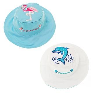 【Flapjack kids】雙面防曬漁夫帽(海豚/火鶴)