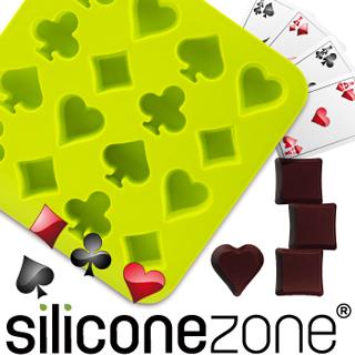【Siliconezone】施理康耐熱撲克造型巧克力模/冰模-綠色