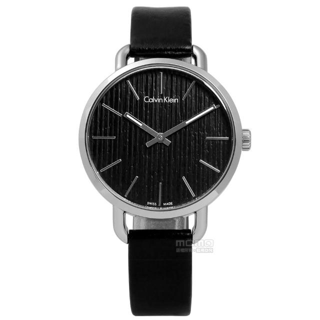 【Calvin Klein】EVEN 沉靜雅緻岩紋皮革手錶 黑色 36mm(K7B231C1)