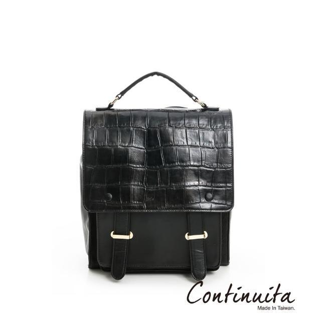 【Continuita 康緹尼】頭層牛皮多功能肩背包(黑色)
