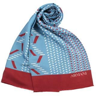 【ARMANI COLLEZIONI】幾何圖案短流蘇管狀蠶絲薄圍巾(水藍色)