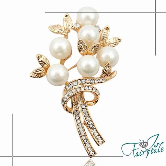 【伊飾童話】珍珠花束*金屬水鑽胸針