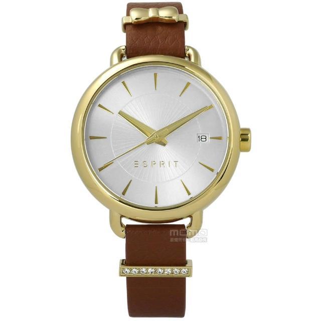 【ESPRIT】晶鑽蝴蝶結巧思質感真皮手錶 銀x金框x咖啡 34mm(ES109402002)