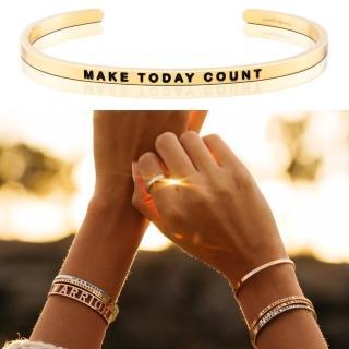 【MANTRABAND】美國悄悄話手環 MAKE TODAY COUNT 把握今天 金色(悄悄話手環)