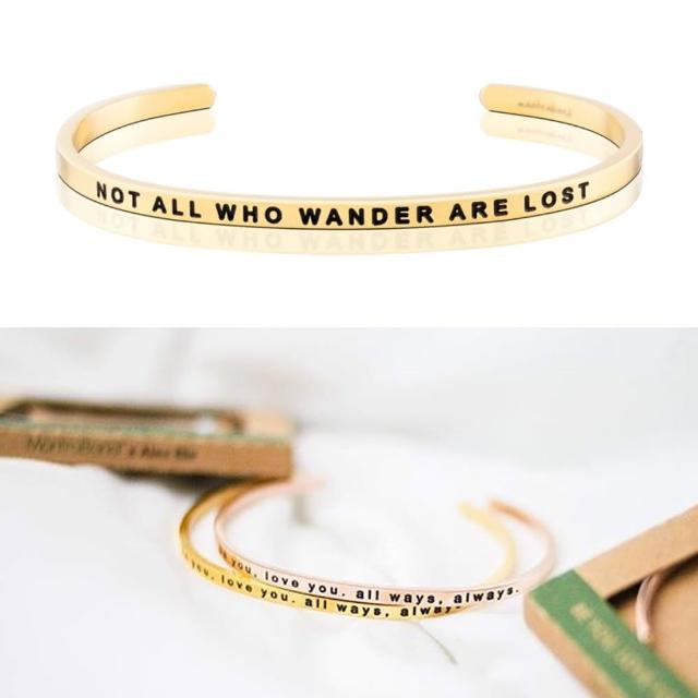 【MANTRABAND】美國悄悄話手環 Not All Who Wander Are Lost 金色(悄悄話手環)