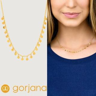 【GORJANA】美國品牌 CHLOE MINI 圓形錢幣鑲18K金項鍊(優雅多墜設計)