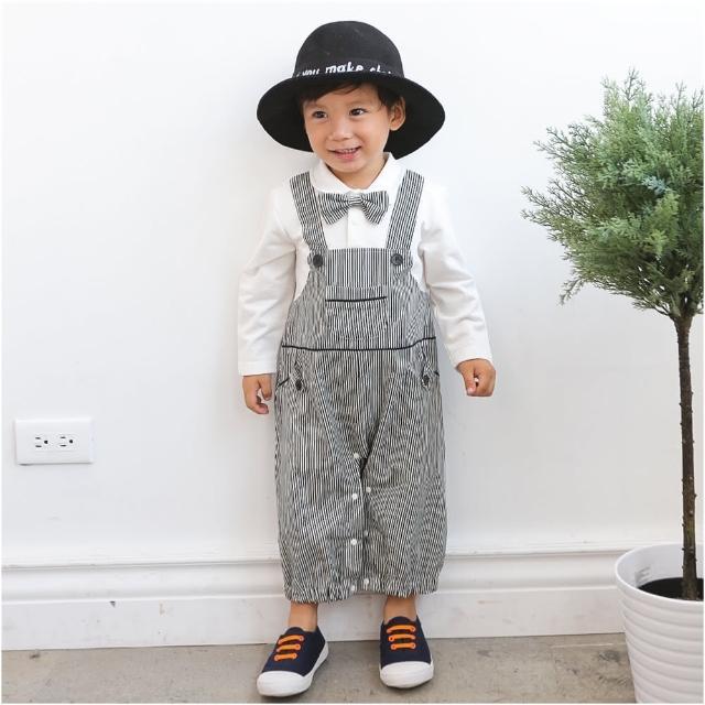 【baby童衣】連身衣 假兩件領結條紋吊帶爬服 60310(共1色)