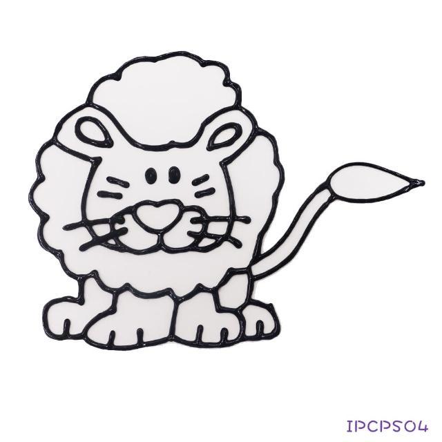 【愛玩色創意館】愛玩色 兒童無毒彩繪玻璃貼-小張圖卡-獅子 ipcpS04 台灣製(DIY 玻璃貼)