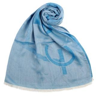 【ARMANI COLLEZIONI】大字母LOGO雙面混紡流蘇披肩圍巾(水藍色)