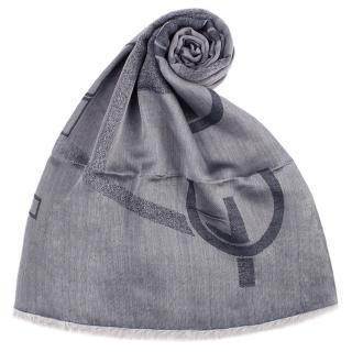 【ARMANI COLLEZIONI】大字母LOGO雙面混紡流蘇披肩圍巾(灰藍色)