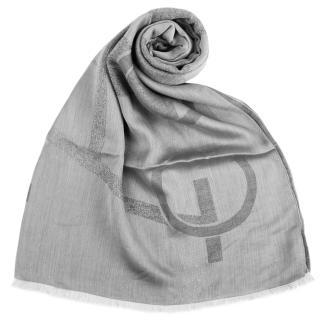 【ARMANI COLLEZIONI】大字母LOGO雙面混紡流蘇披肩圍巾(灰色)