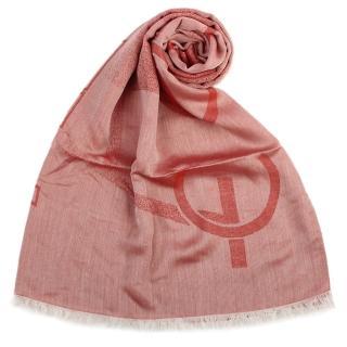 【ARMANI COLLEZIONI】大字母LOGO雙面混紡流蘇披肩圍巾(磚紅色)