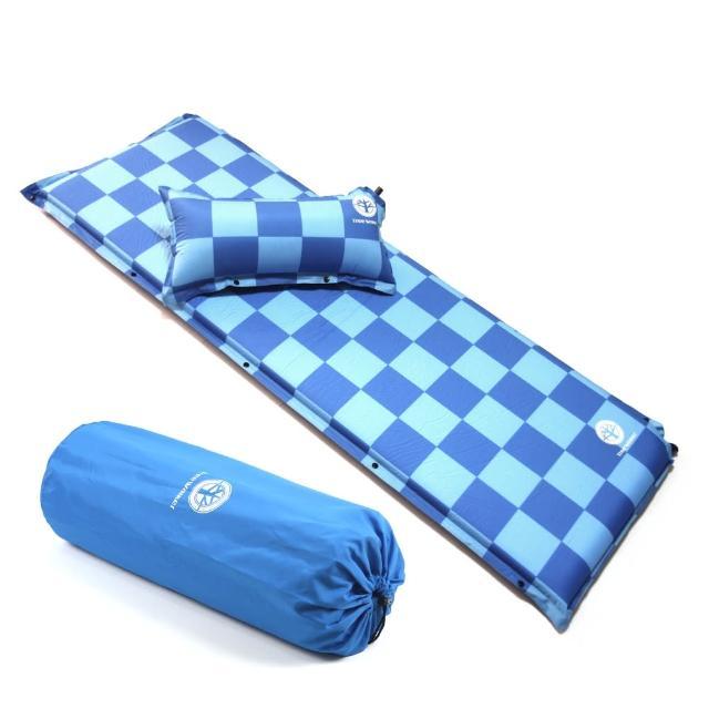 【TreeWalker】加大加厚6cm可拆枕自動充氣睡墊(藍色方格)