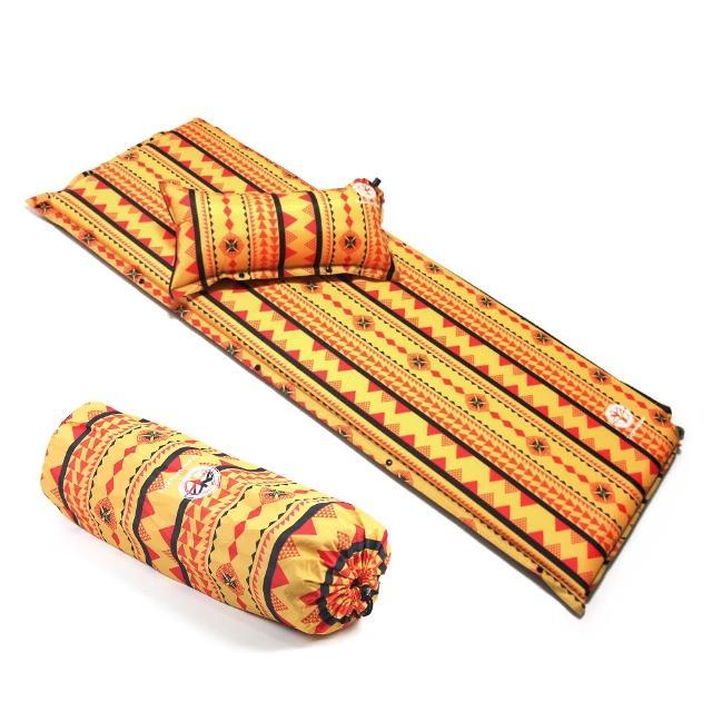 【TreeWalker】加大加厚6cm可拆枕自動充氣睡墊(黃色圖騰)