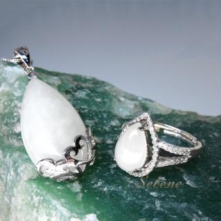 【Selene 珠寶】典雅羊脂白玉套組(送寶石鑑定書市值1200)