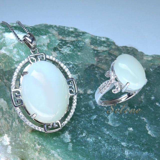 【Selene 珠寶】高貴華麗羊脂白玉項鍊套組(限量珍藏款)