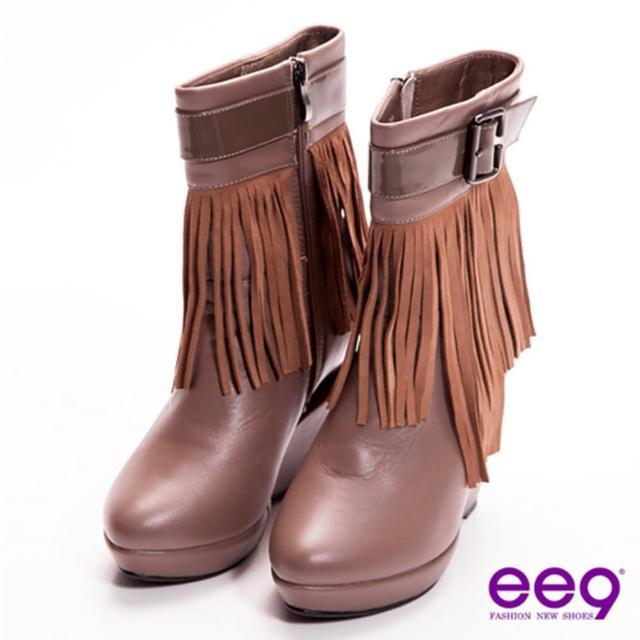 【ee9】時尚巨星-獨家金屬造型跟流蘇皮帶扣真皮中筒靴-氣派可可(中筒靴)