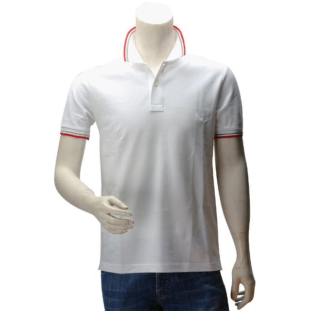 【PRADA】PIQUET紅灰織邊雙釦立領短袖POLO衫(白色-L號-展示品SJM887-BIANCO)