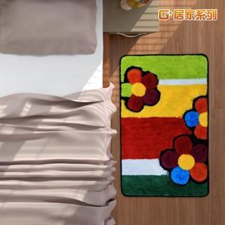 【G+居家】繽紛花朵超細纖維止滑地墊腳踏墊(40X60公分-長方形款)