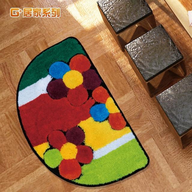【G+居家】繽紛花朵超細纖維止滑地墊腳踏墊(40X60公分)/
